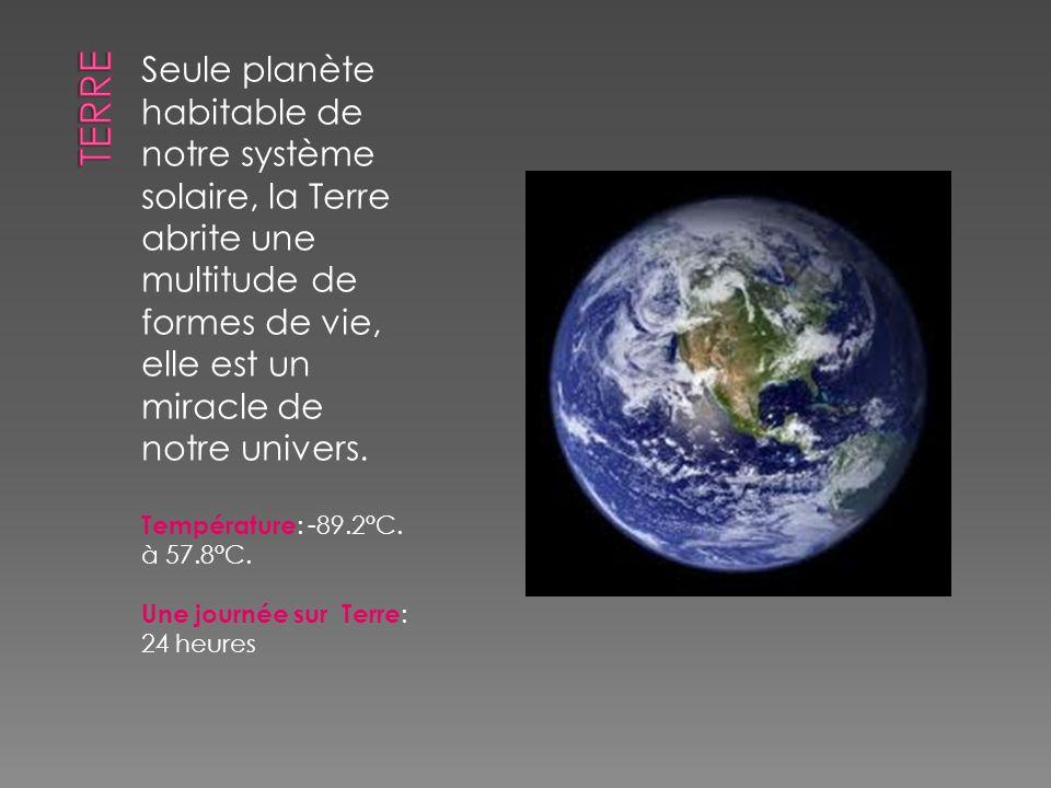 Seule planète habitable de notre système solaire, la Terre abrite une multitude de formes de vie, elle est un miracle de notre univers. Température :
