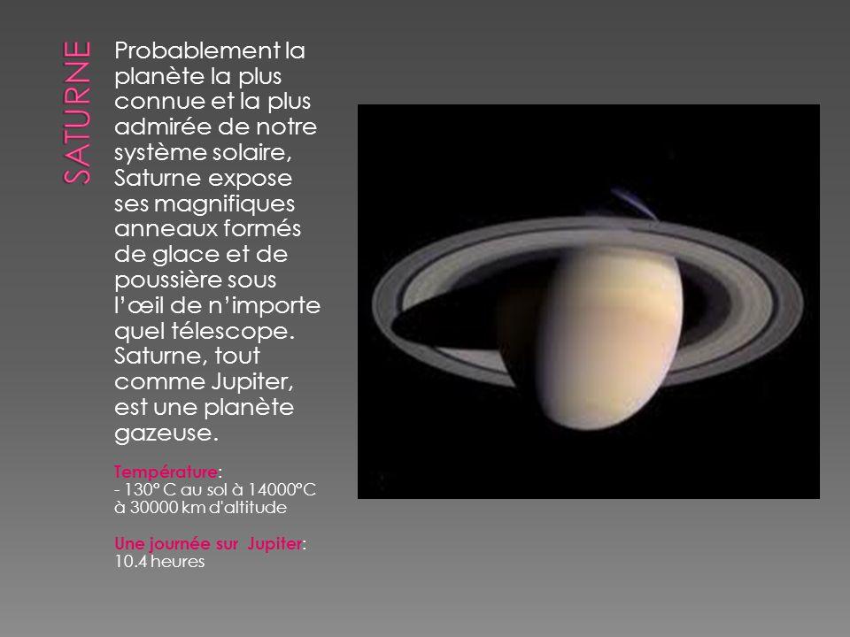 Probablement la planète la plus connue et la plus admirée de notre système solaire, Saturne expose ses magnifiques anneaux formés de glace et de pouss