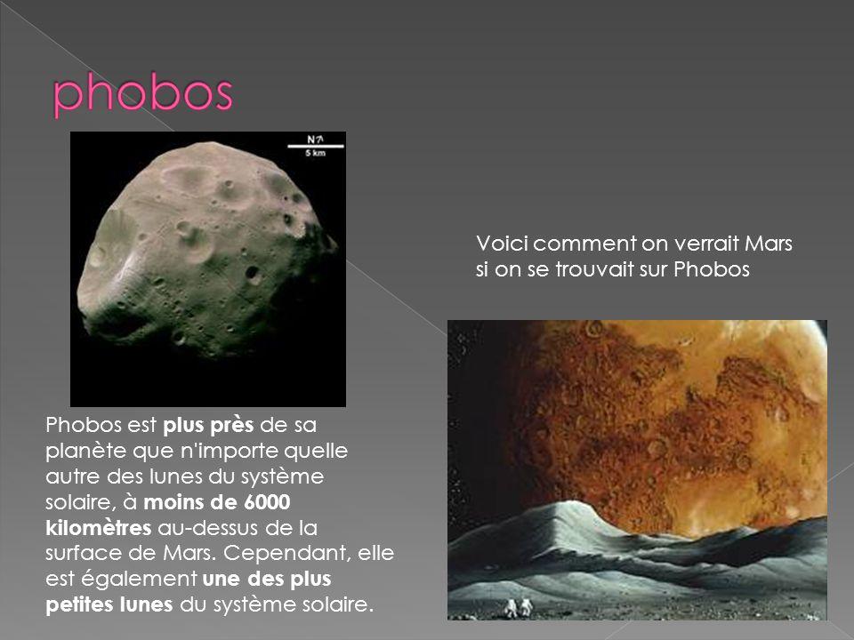 Phobos est plus près de sa planète que n'importe quelle autre des lunes du système solaire, à moins de 6000 kilomètres au-dessus de la surface de Mars