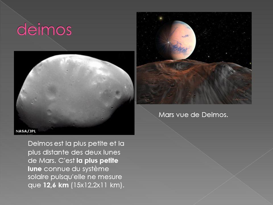 Deimos est la plus petite et la plus distante des deux lunes de Mars. C'est la plus petite lune connue du système solaire puisqu'elle ne mesure que 12