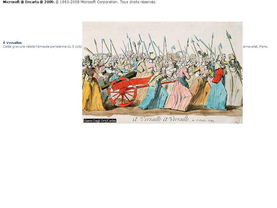 À Versailles Cette gravure relate l'émeute parisienne du 5 octobre 1789, qui contraindra Louis XVI à quitter Versailles. À Versailles, gravure anonyme