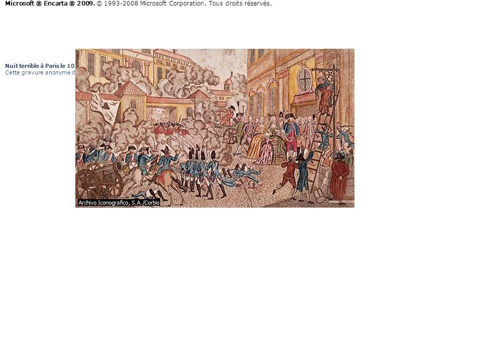Nuit terrible à Paris le 10 août 1792 Cette gravure anonyme de la fin du xviii e-début du xix e siècle montre l'assaut des Tuileries pendant la nuit d