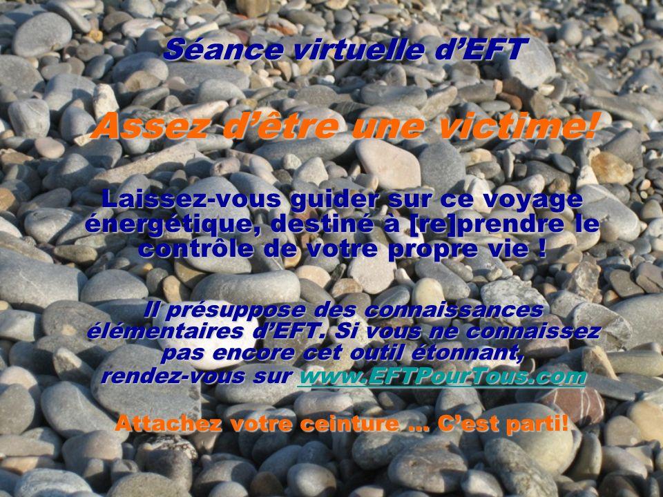 Séance virtuelle dEFT Assez dêtre une victime! Laissez-vous guider sur ce voyage énergétique, destiné à [re]prendre le contrôle de votre propre vie !