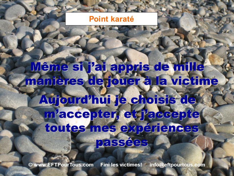 © www.EFTPourTous.com Fini les victimes! info@eftpourtous.com Point karaté Même si jai appris de mille manières de jouer à la victime Aujourdhui je ch
