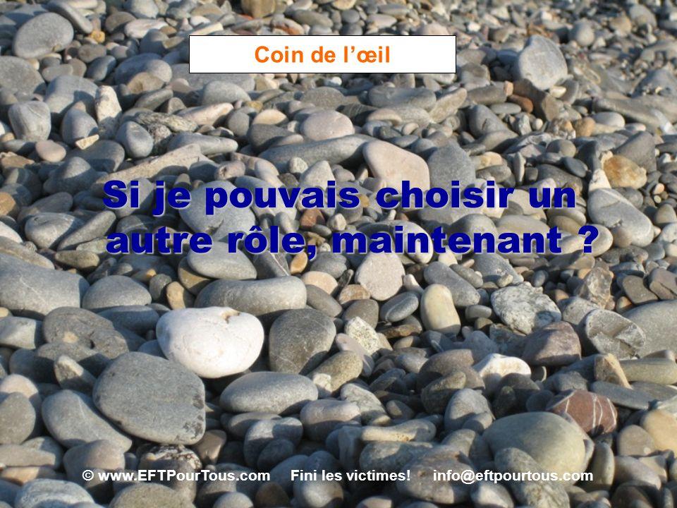 © www.EFTPourTous.com Fini les victimes! info@eftpourtous.com Coin de lœil Si je pouvais choisir un autre rôle, maintenant ?