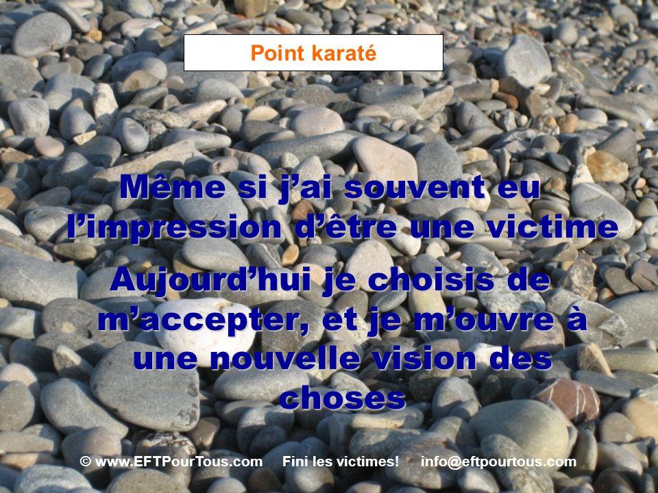 © www.EFTPourTous.com Fini les victimes! info@eftpourtous.com Point karaté Même si jai souvent eu limpression dêtre une victime Aujourdhui je choisis