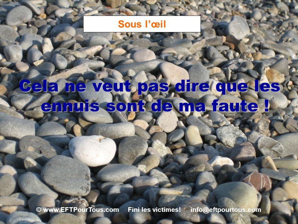 © www.EFTPourTous.com Fini les victimes! info@eftpourtous.com Sous lœil Cela ne veut pas dire que les ennuis sont de ma faute !