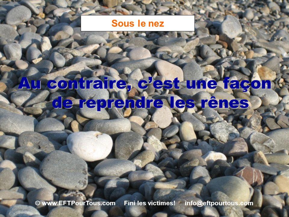 © www.EFTPourTous.com Fini les victimes! info@eftpourtous.com Sous le nez Au contraire, cest une façon de reprendre les rênes