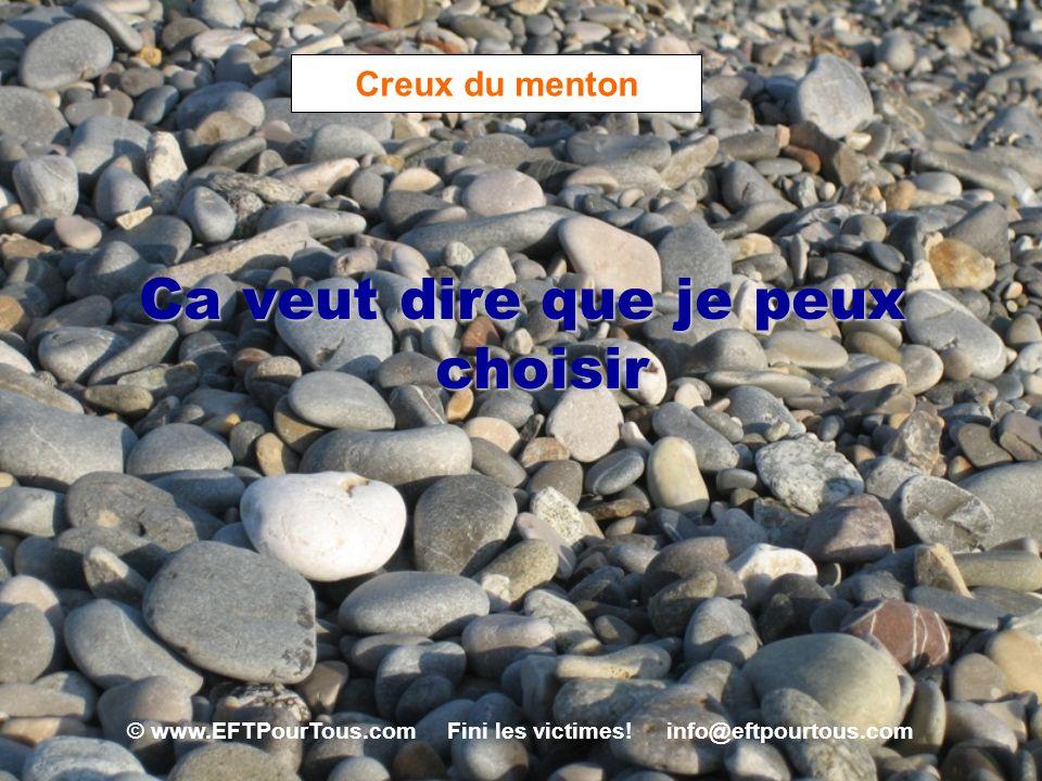 © www.EFTPourTous.com Fini les victimes! info@eftpourtous.com Creux du menton Ca veut dire que je peux choisir