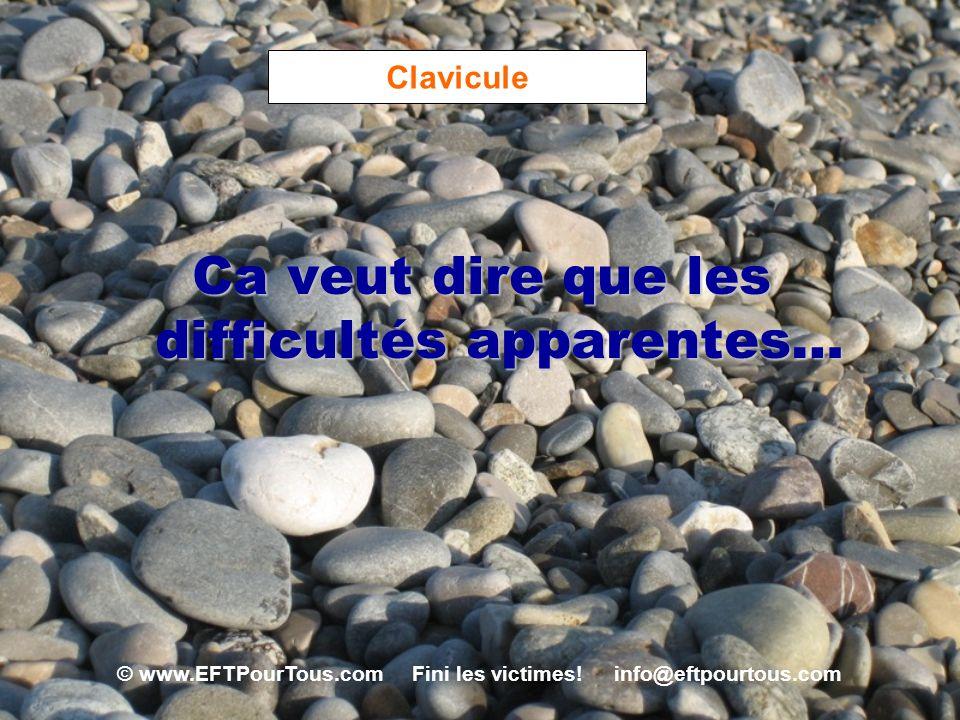 © www.EFTPourTous.com Fini les victimes! info@eftpourtous.com Clavicule Ca veut dire que les difficultés apparentes…