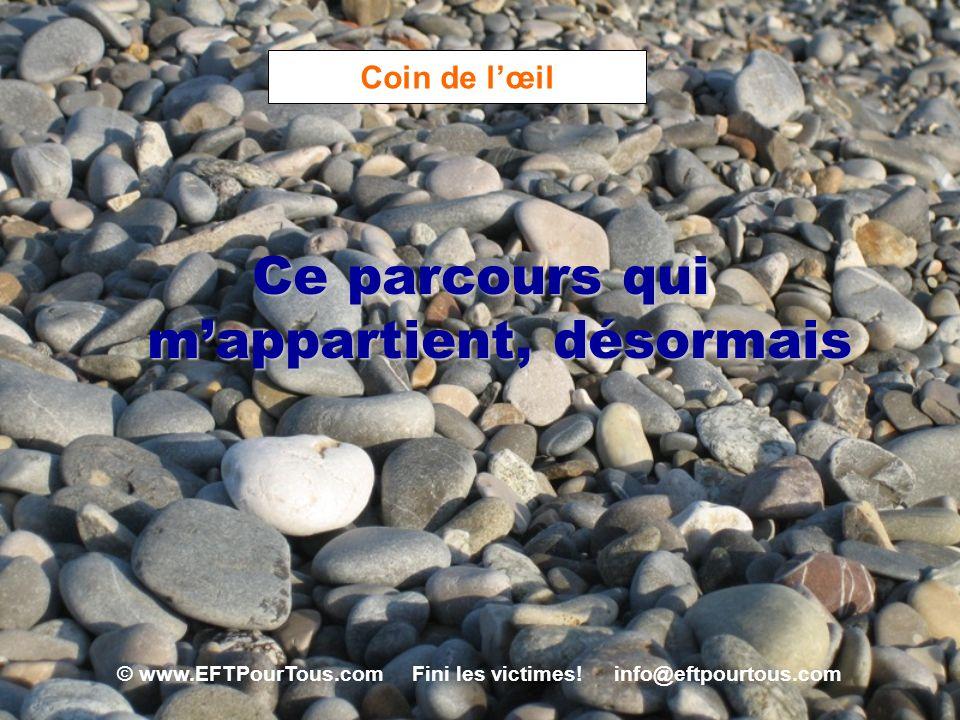 © www.EFTPourTous.com Fini les victimes! info@eftpourtous.com Coin de lœil Ce parcours qui mappartient, désormais