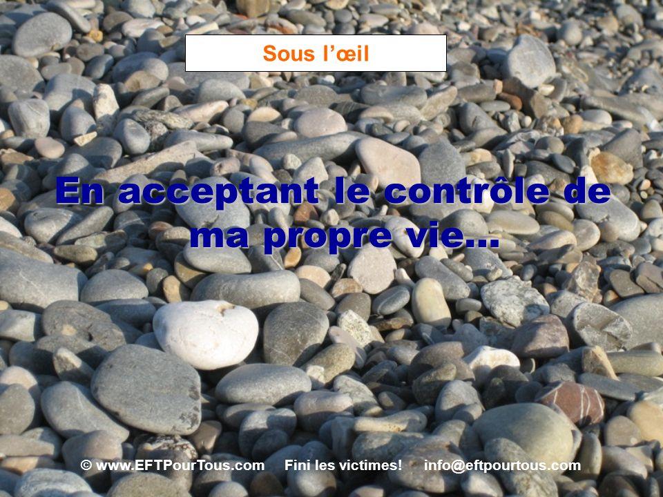 © www.EFTPourTous.com Fini les victimes! info@eftpourtous.com Sous lœil En acceptant le contrôle de ma propre vie…