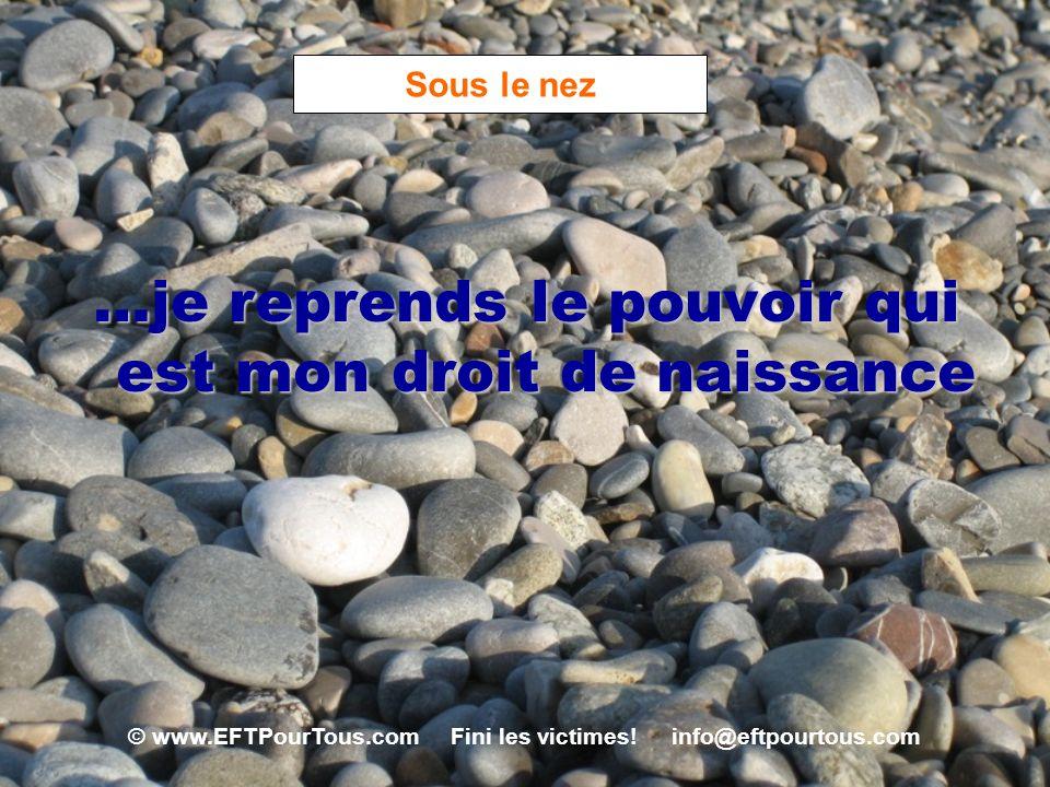 © www.EFTPourTous.com Fini les victimes! info@eftpourtous.com Sous le nez …je reprends le pouvoir qui est mon droit de naissance