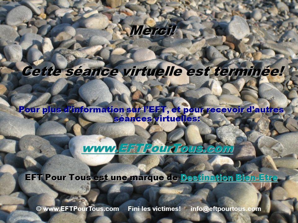 © www.EFTPourTous.com Fini les victimes! info@eftpourtous.com Merci! Cette séance virtuelle est terminée! Pour plus dinformation sur lEFT, et pour rec