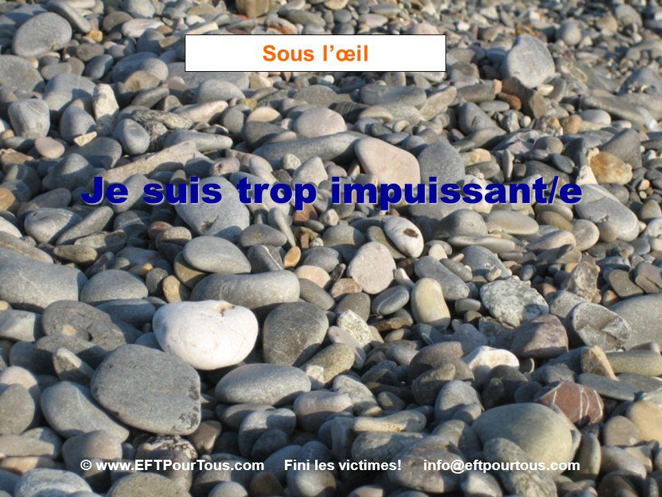 © www.EFTPourTous.com Fini les victimes! info@eftpourtous.com Sous lœil Je suis trop impuissant/e
