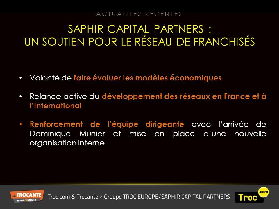 Volonté de faire évoluer les modèles économiques Relance active du développement des réseaux en France et à lInternational Renforcement de léquipe dirigeante avec larrivée de Dominique Munier et mise en place dune nouvelle organisation interne.