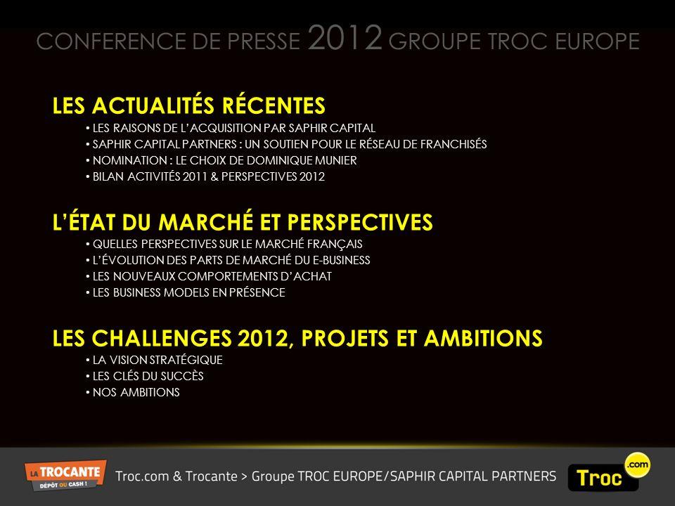 CONFERENCE DE PRESSE 2012 GROUPE TROC EUROPE LES ACTUALITÉS RÉCENTES LES RAISONS DE LACQUISITION PAR SAPHIR CAPITAL SAPHIR CAPITAL PARTNERS : UN SOUTIEN POUR LE RÉSEAU DE FRANCHISÉS NOMINATION : LE CHOIX DE DOMINIQUE MUNIER BILAN ACTIVITÉS 2011 & PERSPECTIVES 2012 LÉTAT DU MARCHÉ ET PERSPECTIVES QUELLES PERSPECTIVES SUR LE MARCHÉ FRANÇAIS LÉVOLUTION DES PARTS DE MARCHÉ DU E-BUSINESS LES NOUVEAUX COMPORTEMENTS DACHAT LES BUSINESS MODELS EN PRÉSENCE LES CHALLENGES 2012, PROJETS ET AMBITIONS LA VISION STRATÉGIQUE LES CLÉS DU SUCCÈS NOS AMBITIONS