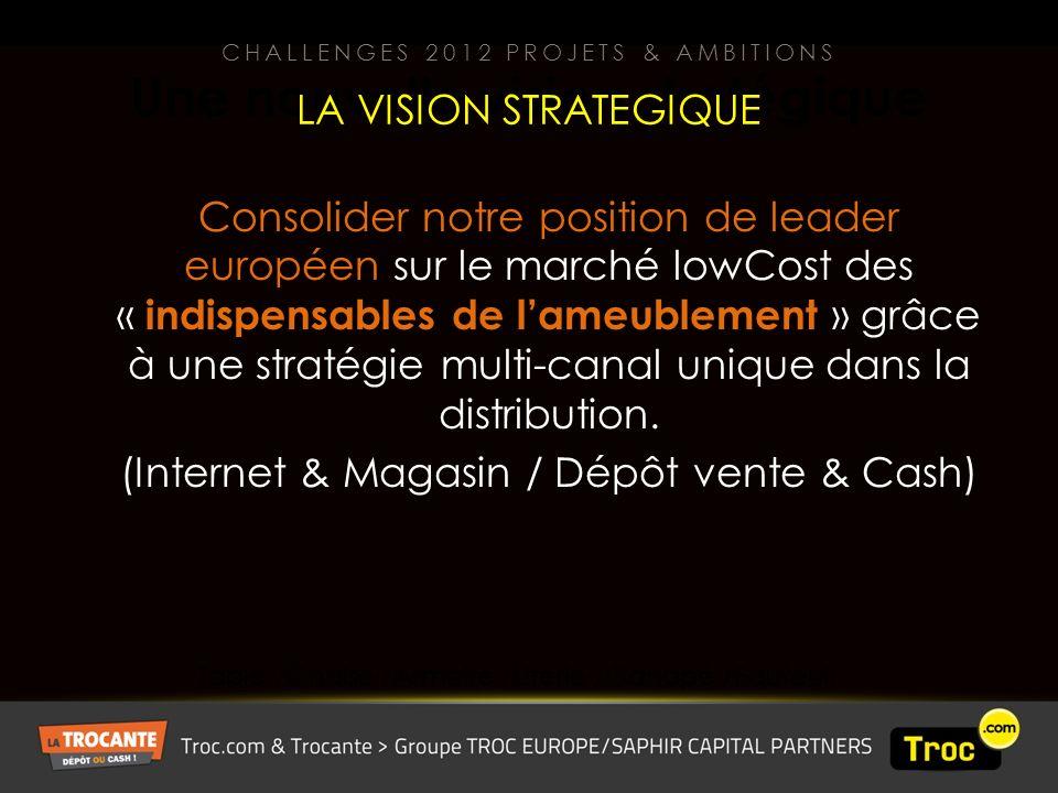 Une nouvelle vision stratégique Consolider notre position de leader européen sur le marché lowCost des « indispensables de lameublement » grâce à une stratégie multi-canal unique dans la distribution.