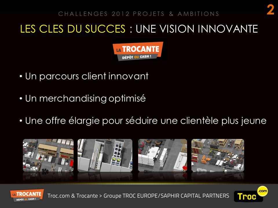 LES CLES DU SUCCES : UNE VISION INNOVANTE CHALLENGES 2012 PROJETS & AMBITIONS 2 Un parcours client innovant Un merchandising optimisé Une offre élargie pour séduire une clientèle plus jeune