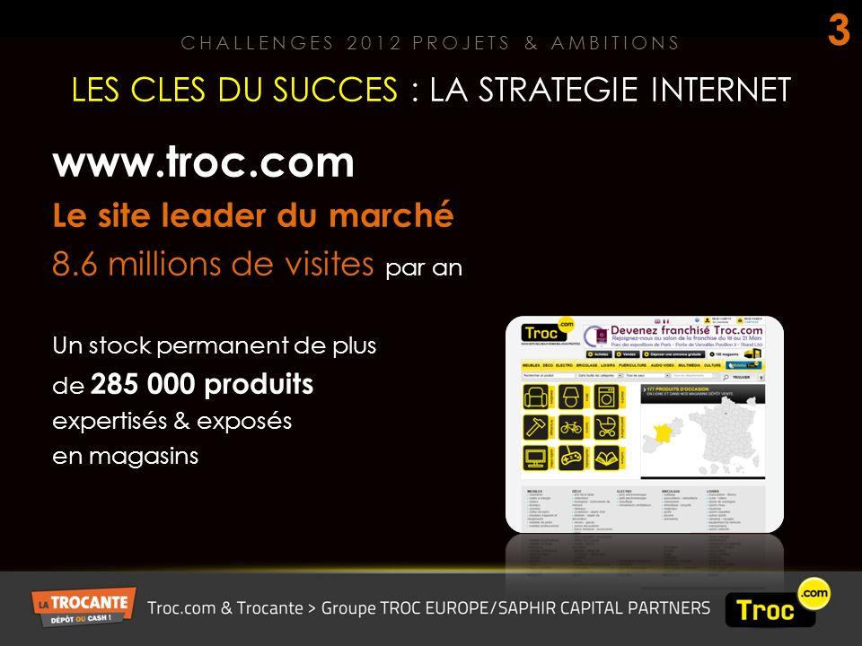www.troc.com Le site leader du marché 8.6 millions de visites par an Un stock permanent de plus de 285 000 produits expertisés & exposés en magasins LES CLES DU SUCCES : LA STRATEGIE INTERNET CHALLENGES 2012 PROJETS & AMBITIONS 3