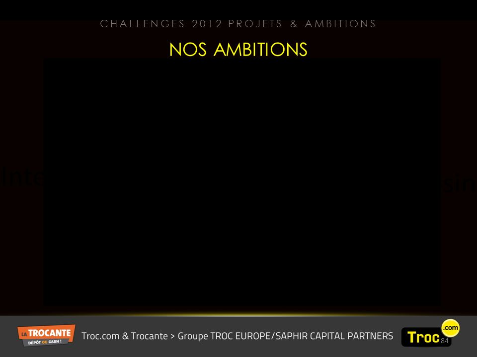 84 Internet Magasin NOS AMBITIONS CHALLENGES 2012 PROJETS & AMBITIONS