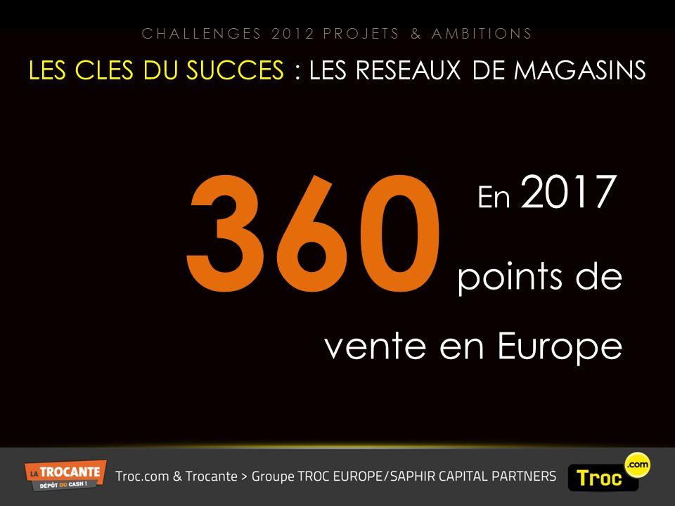 360 points de vente en Europe En 2017 LES CLES DU SUCCES : LES RESEAUX DE MAGASINS CHALLENGES 2012 PROJETS & AMBITIONS