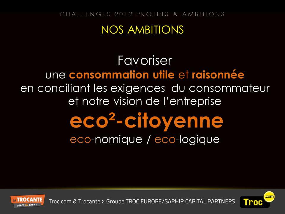 Favoriser une consommation utile et raisonnée en conciliant les exigences du consommateur et notre vision de lentreprise eco²-citoyenne eco-nomique / eco-logique NOS AMBITIONS CHALLENGES 2012 PROJETS & AMBITIONS
