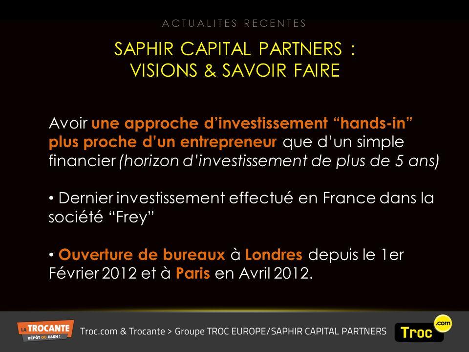Avoir une approche dinvestissement hands-in plus proche dun entrepreneur que dun simple financier (horizon dinvestissement de plus de 5 ans) Dernier investissement effectué en France dans la société Frey Ouverture de bureaux à Londres depuis le 1er Février 2012 et à Paris en Avril 2012.
