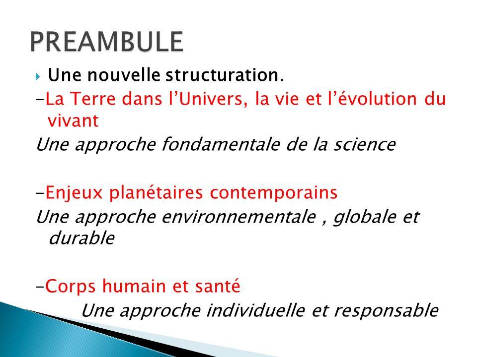 Une nouvelle structuration. -La Terre dans lUnivers, la vie et lévolution du vivant Une approche fondamentale de la science -Enjeux planétaires contem