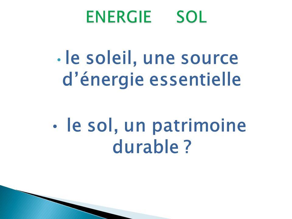 le soleil, une source dénergie essentielle le sol, un patrimoine durable ?