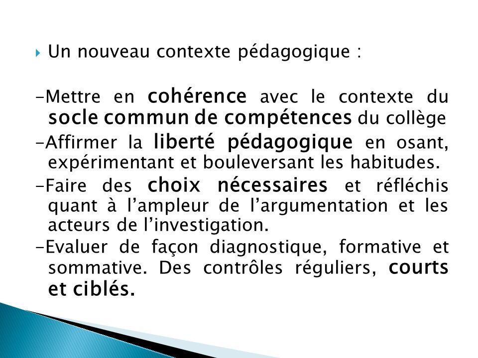 Un nouveau contexte pédagogique : -Mettre en cohérence avec le contexte du socle commun de compétences du collège -Affirmer la liberté pédagogique en