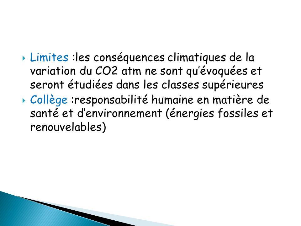 Limites :les conséquences climatiques de la variation du CO2 atm ne sont quévoquées et seront étudiées dans les classes supérieures Collège :responsab