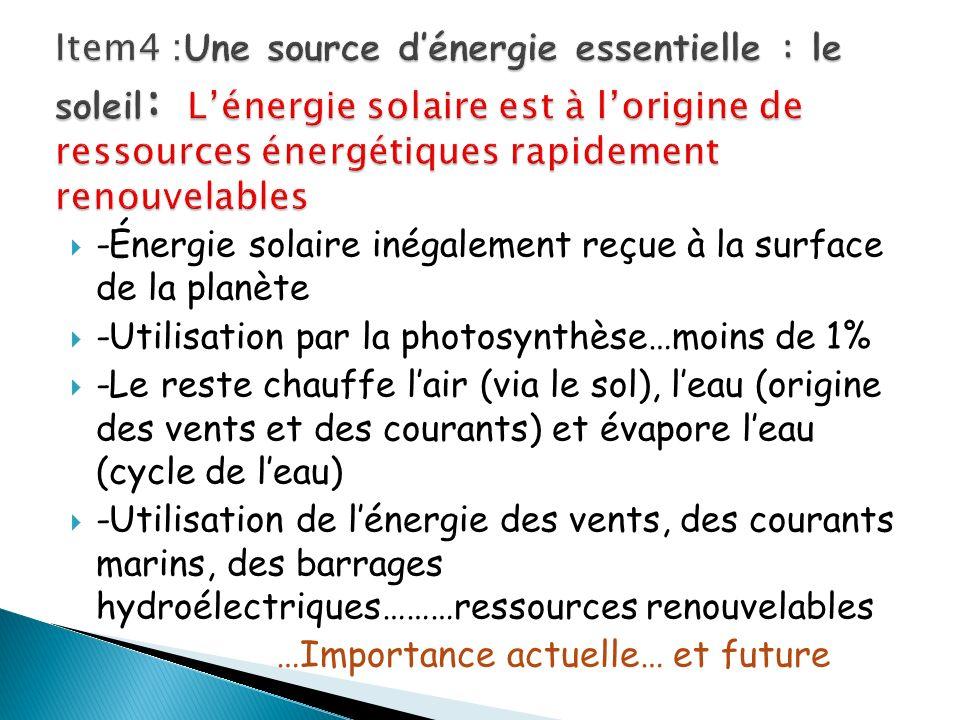-Énergie solaire inégalement reçue à la surface de la planète -Utilisation par la photosynthèse…moins de 1% -Le reste chauffe lair (via le sol), leau