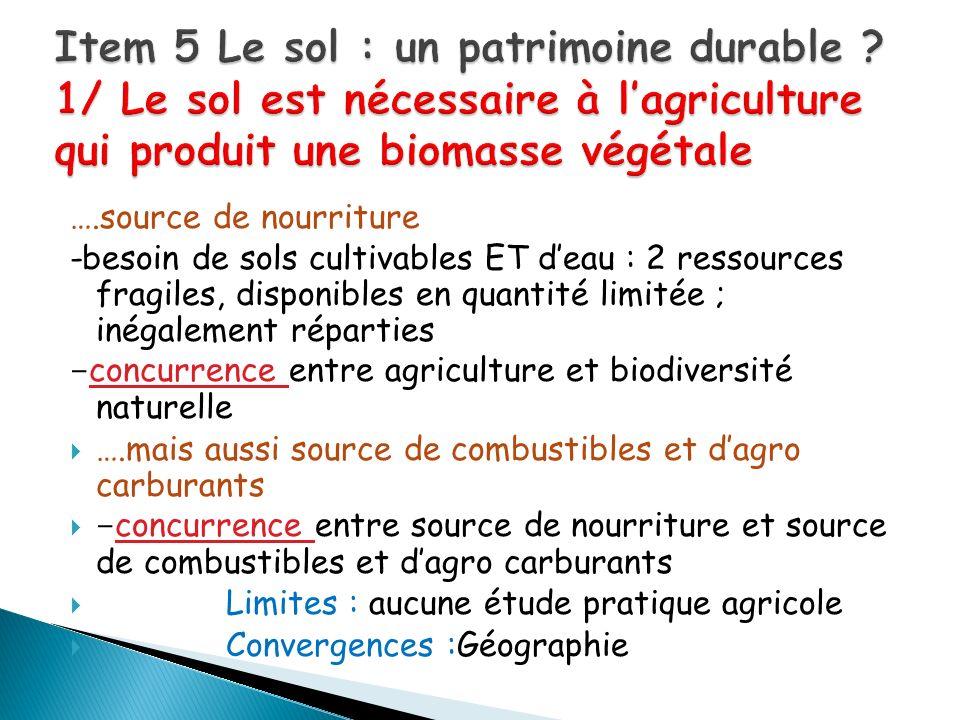 ….source de nourriture -besoin de sols cultivables ET deau : 2 ressources fragiles, disponibles en quantité limitée ; inégalement réparties - concurre