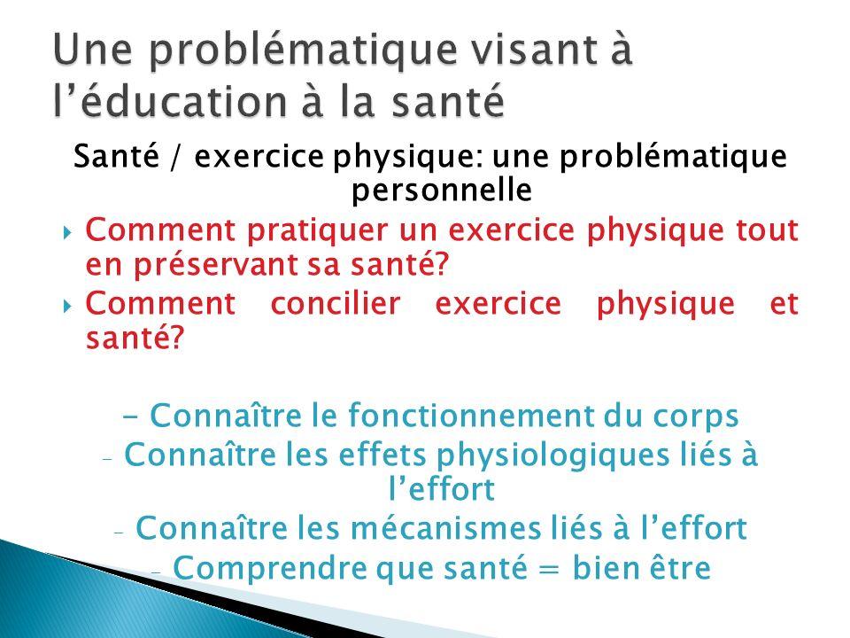 Santé / exercice physique: une problématique personnelle Comment pratiquer un exercice physique tout en préservant sa santé? Comment concilier exercic