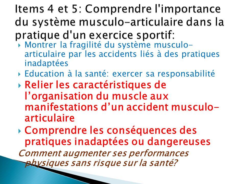Montrer la fragilité du système musculo- articulaire par les accidents liés à des pratiques inadaptées Education à la santé: exercer sa responsabilité