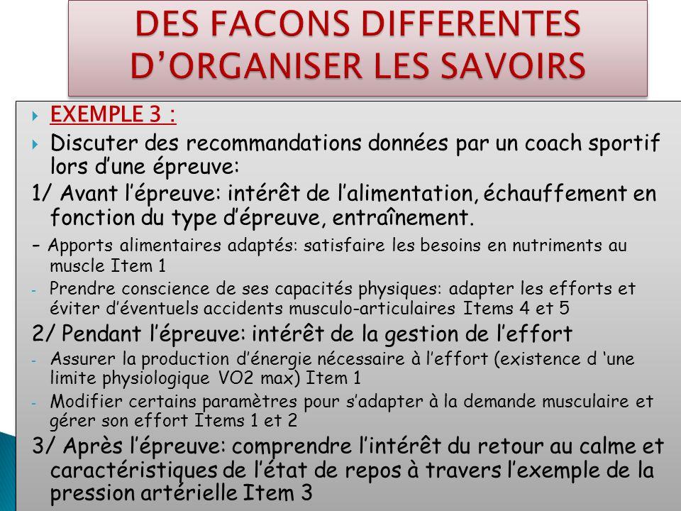 EXEMPLE 3 : Discuter des recommandations données par un coach sportif lors dune épreuve: 1/ Avant lépreuve: intérêt de lalimentation, échauffement en