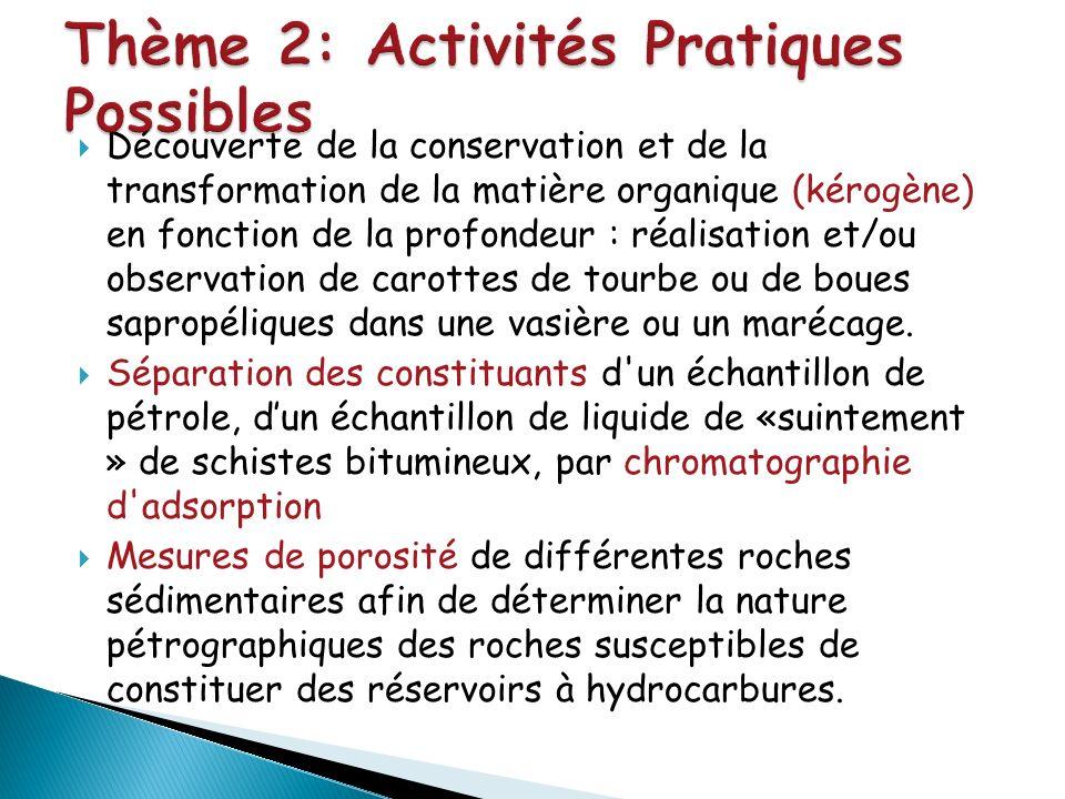 Découverte de la conservation et de la transformation de la matière organique (kérogène) en fonction de la profondeur : réalisation et/ou observation
