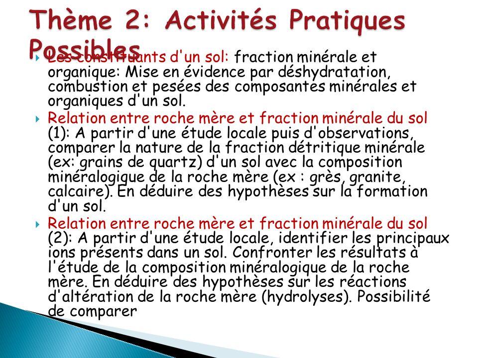 Les constituants d'un sol: fraction minérale et organique: Mise en évidence par déshydratation, combustion et pesées des composantes minérales et orga