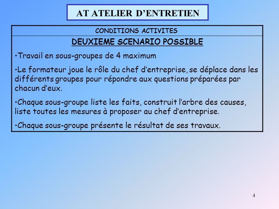 4 AT ATELIER DENTRETIEN CONDITIONS ACTIVITES DEUXIEME SCENARIO POSSIBLE Travail en sous-groupes de 4 maximum Le formateur joue le rôle du chef dentreprise, se déplace dans les différents groupes pour répondre aux questions préparées par chacun deux.