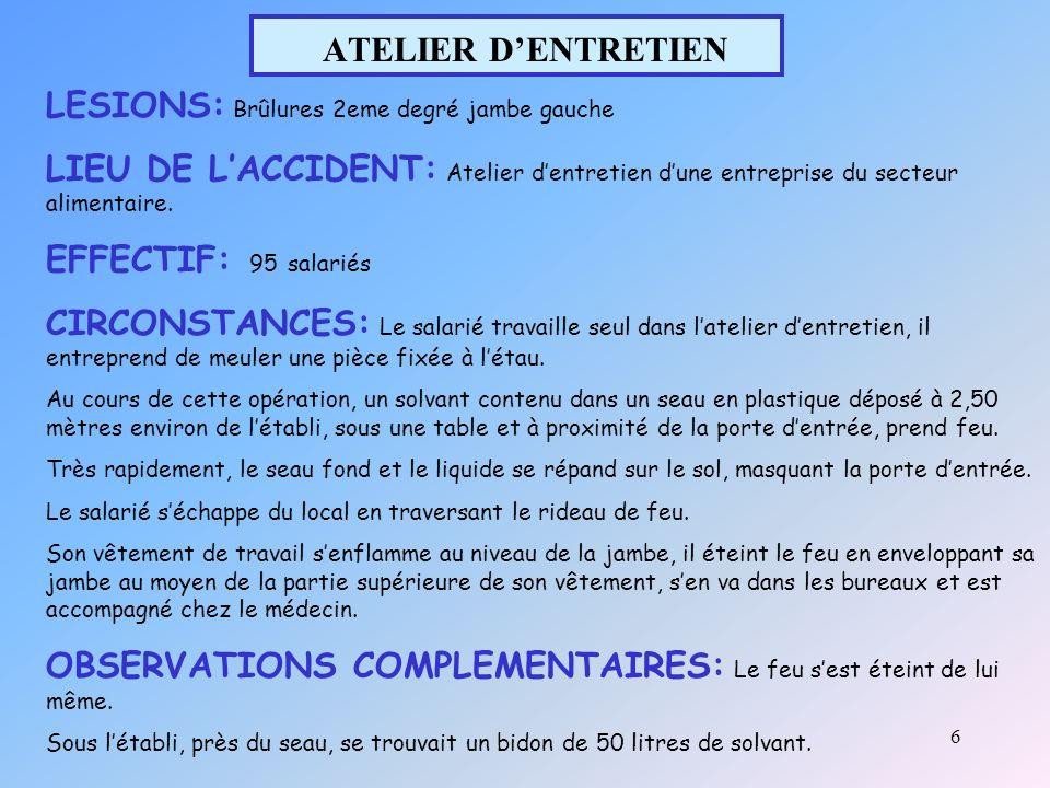 6 ATELIER DENTRETIEN LESIONS: Brûlures 2eme degré jambe gauche LIEU DE LACCIDENT: Atelier dentretien dune entreprise du secteur alimentaire.