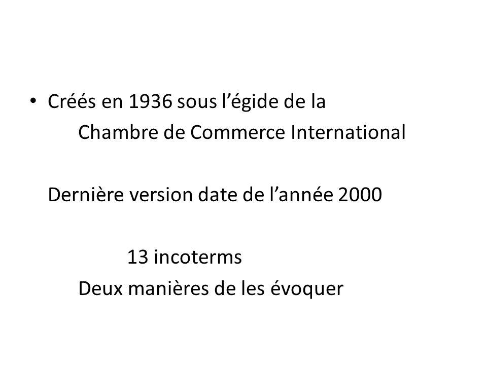 Créés en 1936 sous légide de la Chambre de Commerce International Dernière version date de lannée 2000 13 incoterms Deux manières de les évoquer