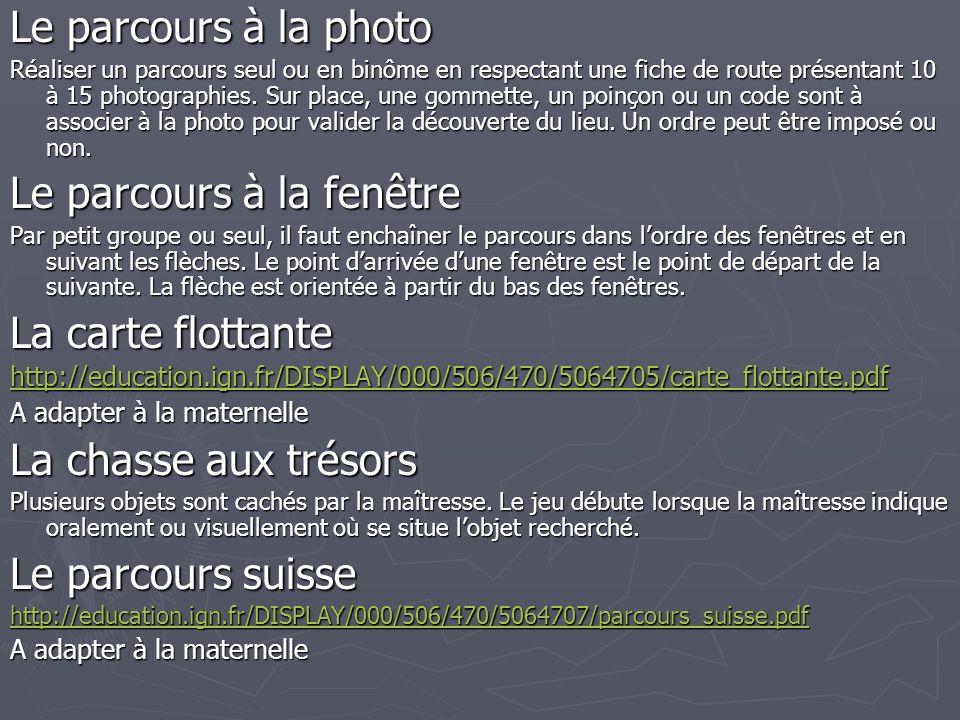 Le parcours à la photo Réaliser un parcours seul ou en binôme en respectant une fiche de route présentant 10 à 15 photographies.