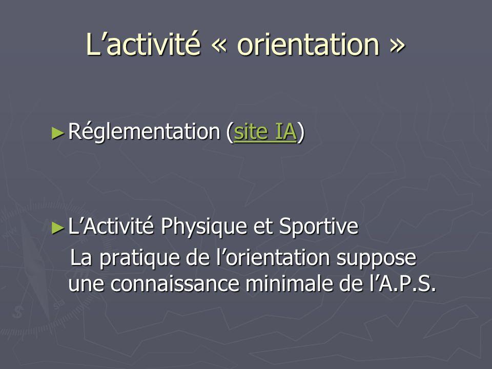 Lactivité « orientation » Réglementation (site IA) Réglementation (site IA)site IAsite IA LActivité Physique et Sportive LActivité Physique et Sportive La pratique de lorientation suppose une connaissance minimale de lA.P.S.