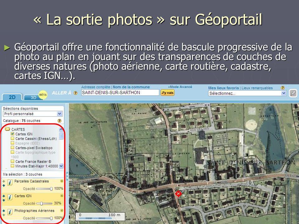 Géoportail offre une fonctionnalité de bascule progressive de la photo au plan en jouant sur des transparences de couches de diverses natures (photo aérienne, carte routière, cadastre, cartes IGN…).