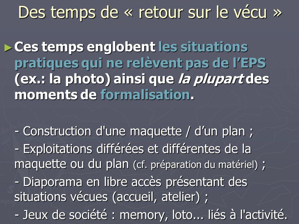Ces temps englobent les situations pratiques qui ne relèvent pas de lEPS (ex.: la photo) ainsi que la plupart des moments de formalisation.