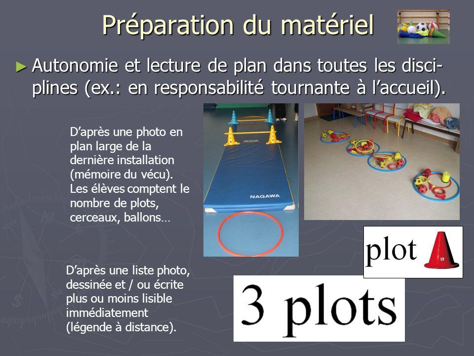 Préparation du matériel Autonomie et lecture de plan dans toutes les disci- plines (ex.: en responsabilité tournante à laccueil).