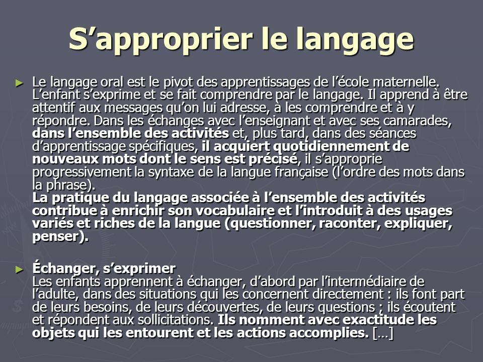 Sapproprier le langage Le langage oral est le pivot des apprentissages de lécole maternelle.