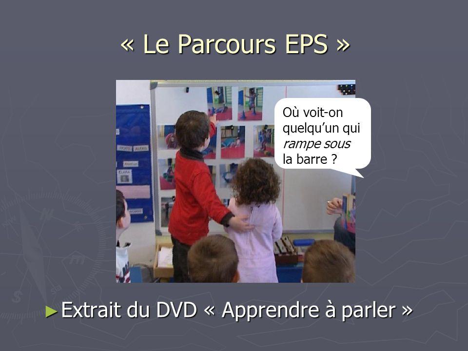 « Le Parcours EPS » Extrait du DVD « Apprendre à parler » Extrait du DVD « Apprendre à parler » Où voit-on quelquun qui rampe sous la barre ?