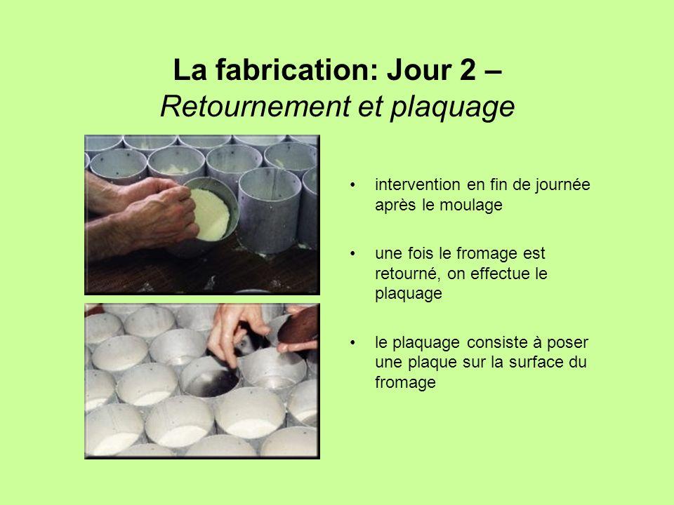 La fabrication: Jour 2 – Retournement et plaquage intervention en fin de journée après le moulage une fois le fromage est retourné, on effectue le pla